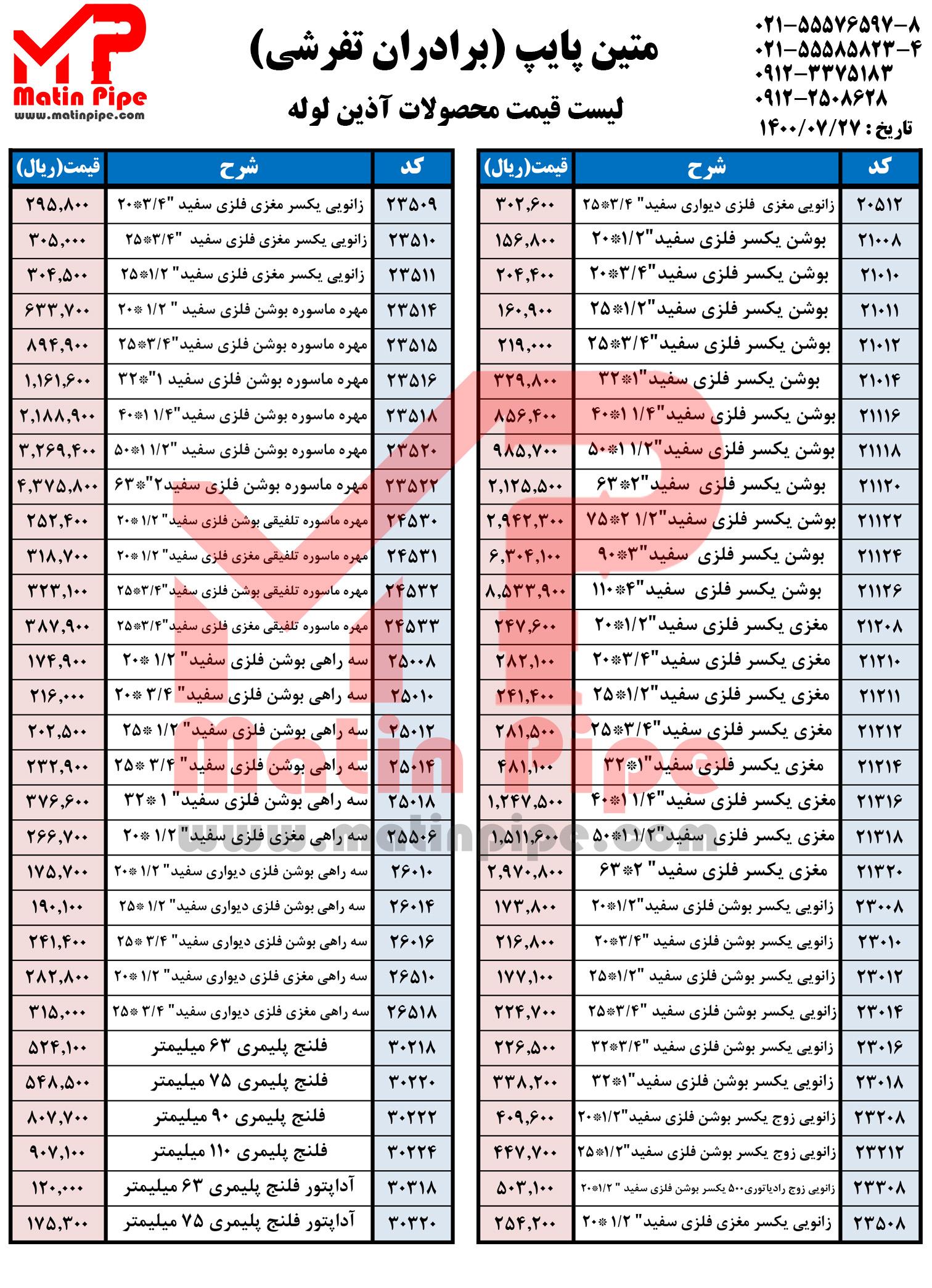 لیست قیمت آذین لوله